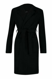 Womens Tall Belted Wool Look Coat - black - 16, Black