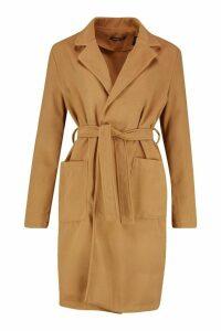 Womens Tall Belted Wool Look Coat - beige - 16, Beige