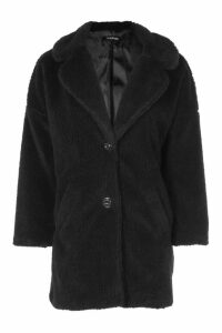 Womens Faux Fur Teddy Coat - black - M, Black