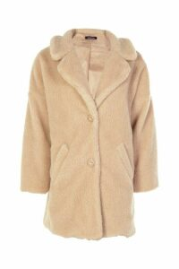 Womens Faux Fur Teddy Coat - beige - S, Beige