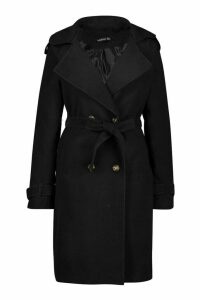 Womens Tall Military Double Breasted Wool Look Coat - black - 16, Black