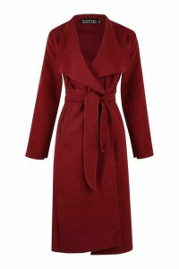 Womens Belted Shawl Collar Coat - red - One Size, Red
