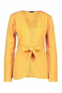 Womens Tall Belted Blazer - yellow - 16, Yellow