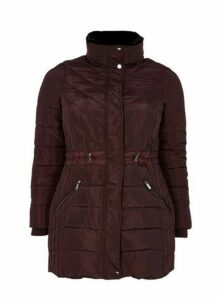 Plum Faux Fur Collar Padded Coat, Plum