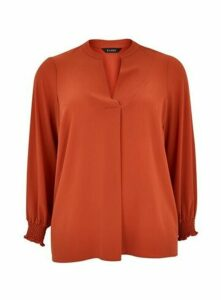 Rust Shirred Cuff Shirt, Rust