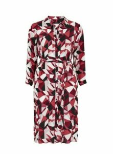 Red Geometric Print Shirt Dress, Dark Multi