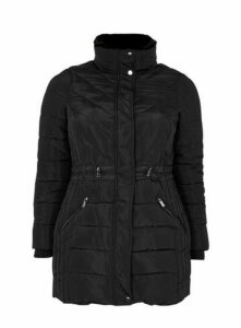 Black Faux Fur Collar Padded Coat, Black
