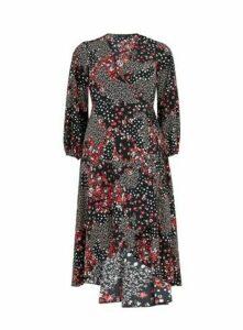 Black Floral Print Wrap Dress, Multi