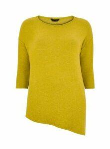Yellow Asymmetric Zip Detail Soft Touch Top, Navy