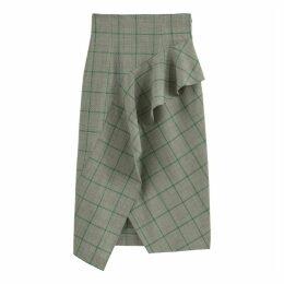 Checked Wool Midi Skirt with High Waist and Ruffles