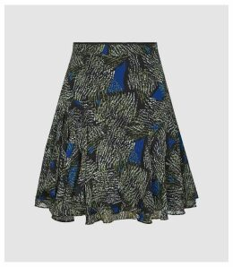 Reiss Muriel - Jungle Printed Mini Skirt in Blue/green, Womens, Size 14