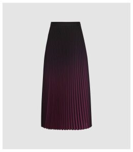 Reiss Marlie - Ombre Pleated Midi Skirt in Berry, Womens, Size 16