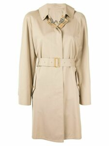 Burberry Pre-Owned belted short rain coat - Brown