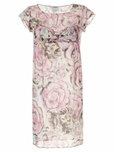 Chanel Pre-Owned bow detail roses print dress - PURPLE