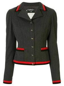 Chanel Pre-Owned 1994 contrasting stripes fitted blazer - Grey