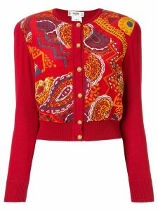 Céline Pre-Owned paisley print knitted cardigan - Red