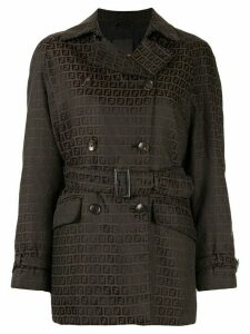 Fendi Pre-Owned Zucca pattern double-breasted belted coat - Brown
