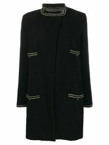 Chanel Pre-Owned stand-up neck straight coat - Black