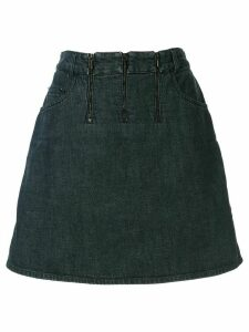 Chanel Pre-Owned triple zip denim skirt - Blue