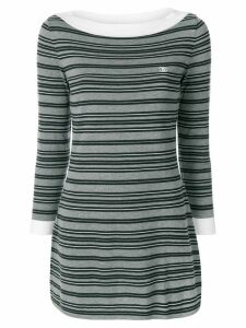 Chanel Pre-Owned striped CC dress - Grey