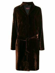Romeo Gigli Pre-Owned 1990s velvet effect tie-waist coat - Brown