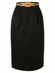 Hermès Pre-Owned belted micro pleated skirt - Black