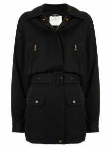Chanel Pre-Owned CC belted coat - Black
