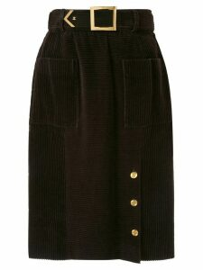 Chanel Pre-Owned knee length corduroy skirt - Brown