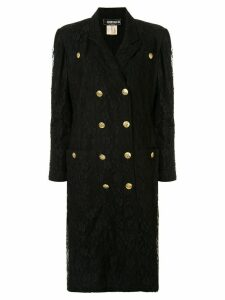 Fendi Pre-Owned lace overlay double-breasted coat - Black