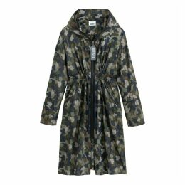 Lightweight Hooded Parka in Camouflage Print