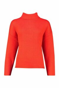 Womens Roll Neck Drop Shoulder Jumper - orange - M, Orange