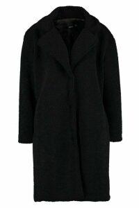 Womens Teddy Faux Fur Coat - black - 14, Black
