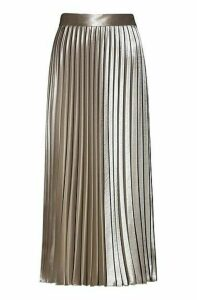 Plissé midi skirt in high-shine fabric