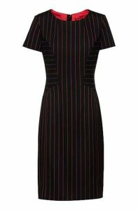 Pencil dress in stretch fabric with vertical stripes