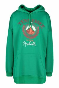Womens Tennesse Graphic Hooded Sweatshirt Dress - green - 12, Green