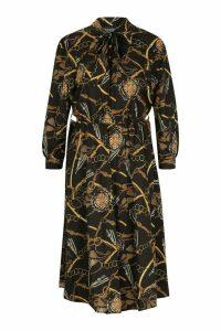 Womens Chain Tie Neck Midi Dress - black - 14, Black