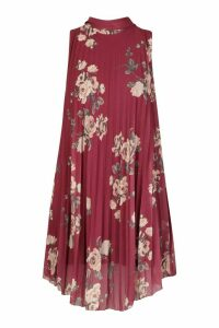 Womens Floral Print Pleated Shift Dress - red - 14, Red