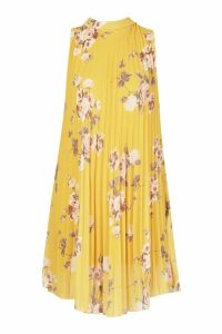 Womens Floral Print Pleated Shift Dress - yellow - 16, Yellow
