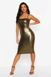 Womens Metalliic Square Neck Strappy Midi Dress - metallics - 14, Metallics