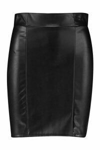 Womens Leather Look Seam Front Mini Skirt - black - 6, Black