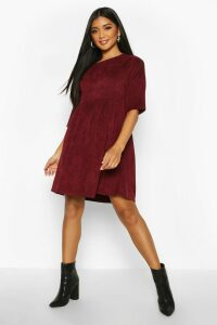 Womens Cord Smock Dress - red - 16, Red
