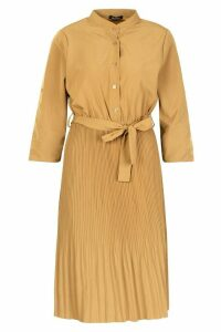 Womens Pleated Collarless Midi Skater Dress - beige - 16, Beige