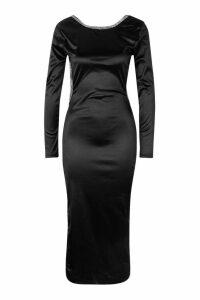 Womens Diamonte Low Back Midaxi Dress - black - 16, Black