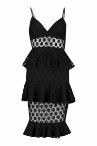 Womens Spot Dobby Mesh Tierred Midaxi Dress - black - 16, Black