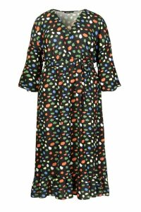 Womens Plus Coloured Spot Wrap Midaxi Dress - black - 20, Black