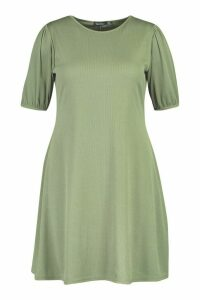 Womens Plus Soft Rib Puff Sleeve Swing Dress - green - 28, Green