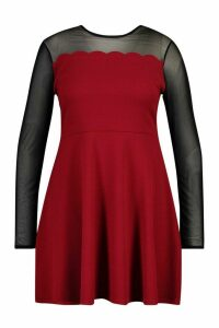 Womens Plus Mesh Scallop Edge Skater Dress - red - 16, Red
