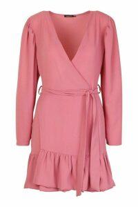 Womens Petite Puff Sleeve Wrap Ruffle Dress - pink - 14, Pink