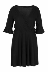 Womens Plus Rib Ruffle Wrap Detail Skater Dress - black - 18, Black
