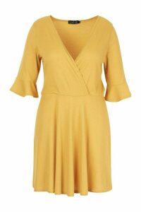 Womens Plus Rib Ruffle Wrap Detail Skater Dress - yellow - 20, Yellow